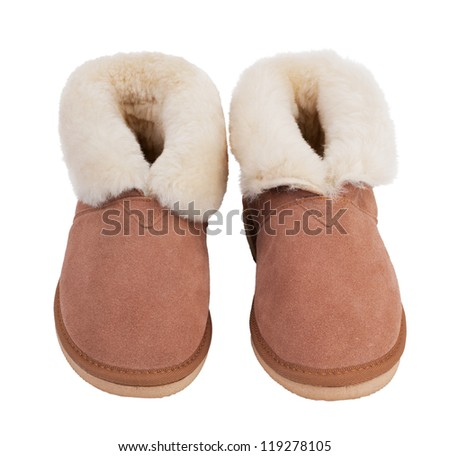 Warm slippers of wool on a white background