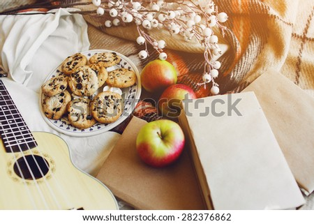 Warm  soft fall  lifestyle  image of cozy random hipster  objects :  wooden ukulele guitar, apples, old books, cookies, checkered plaid.  - stock photo