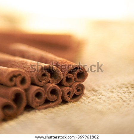 Warm soft focus on a group of cinnamon sticks place on sack cloth shot with a Selective Focus, room at top for text
