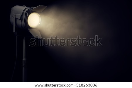 Warm stage spotlight shines in dark background. 3d rendering