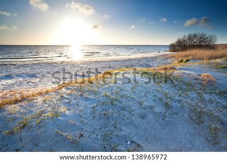 warm sunshine over beach by North sea, Friesland, Netherlands - stock photo