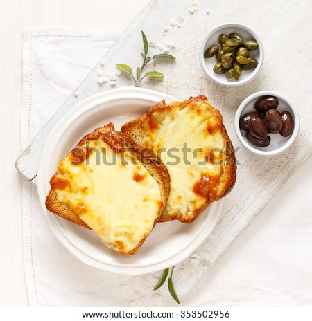 Warm Toast with melted mozzarella cheese on a white plate - stock photo