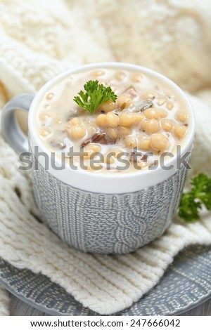 Warm Winter Creamy Mushroom Soup with Pasta