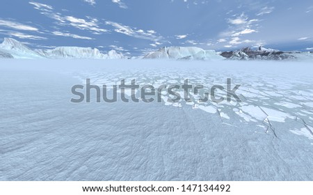 Warmer polar air condensing over breaking ice-floes  - stock photo