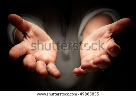 warmth female hands cupped - stock photo