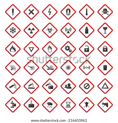 Warning and danger signs collection isolated on white background (Vector version is also available in my portfolio, ID 186936458) - stock photo
