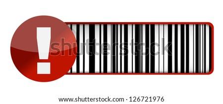 warning barcode UPC illustration design over a white background - stock photo