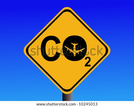 Warning CO2 emissions from air travel sign JPG - stock photo