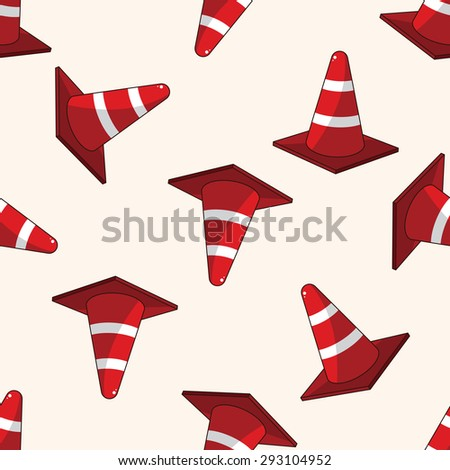 Warning cones , cartoon seamless pattern background - stock photo