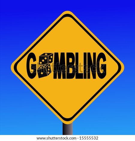 warning gambling sign with two dice illustration JPG - stock photo
