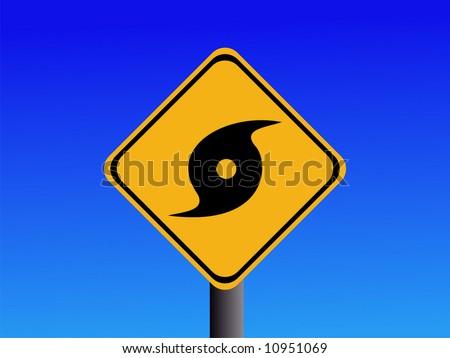 Warning hurricane risk sign on blue illustration JPEG - stock photo