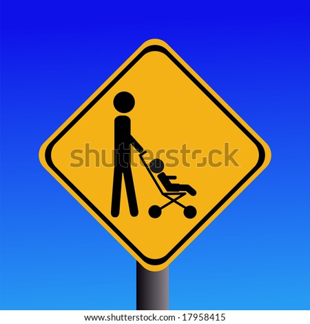 warning parent with strollers crossing sign on blue illustration JPEG