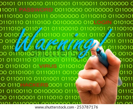 Warning password login virus hackers hand binary text - stock photo