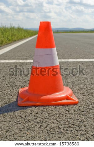 Warning road mark on a road. - stock photo