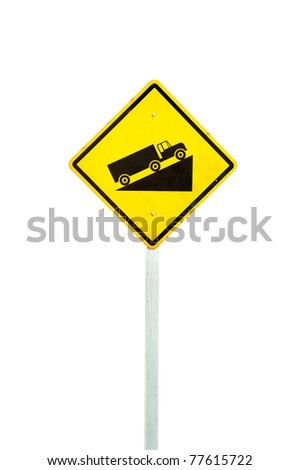 Warning road sign up to hill - stock photo