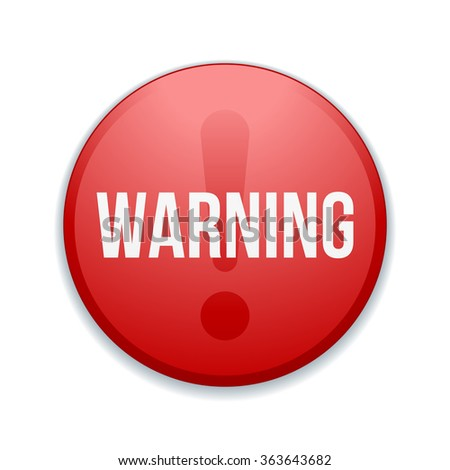 Warning sign button - stock photo