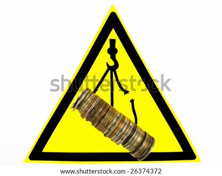 Warning sign. Danger of a falling financial market. - stock photo