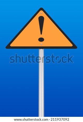 Warning Sign. Digitally Generated Image. 3D Rendering
