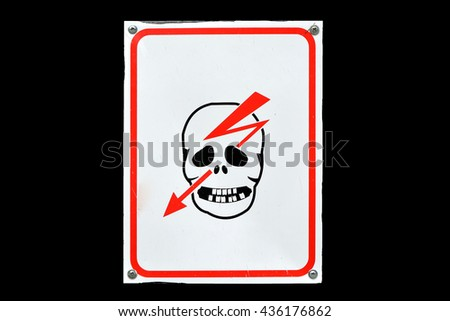 Warning sign electrical hazard skull and Arrow - stock photo