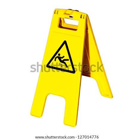 Warning sign for slippery floor  isolated on white background - stock photo