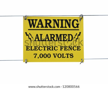 Warning Sign High Voltage Electric Fence - stock photo