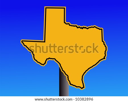 warning sign in shape of Texas on blue illustration JPG - stock photo