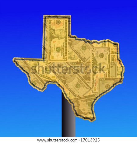 warning sign in shape of Texas with American dollars - stock photo