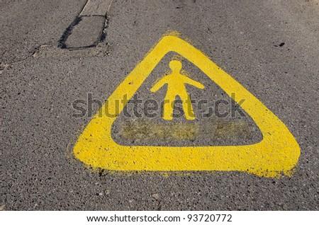 Warning sign near school for human wakefulness. Attention children! - stock photo