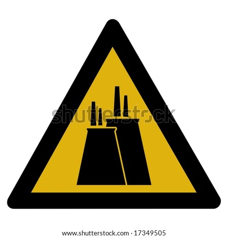 Warning sign - nuclear plant - stock photo