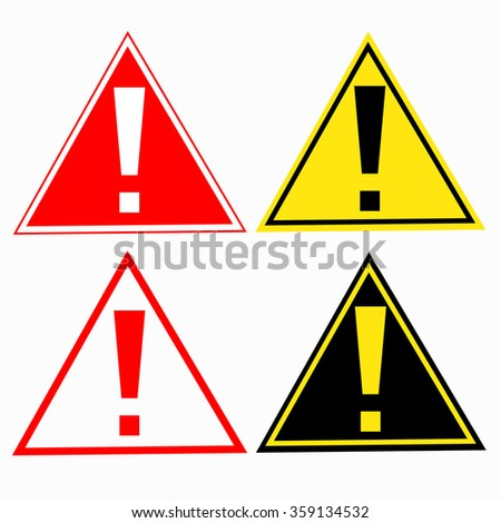 warning sign with exclamation mark symbol - stock photo