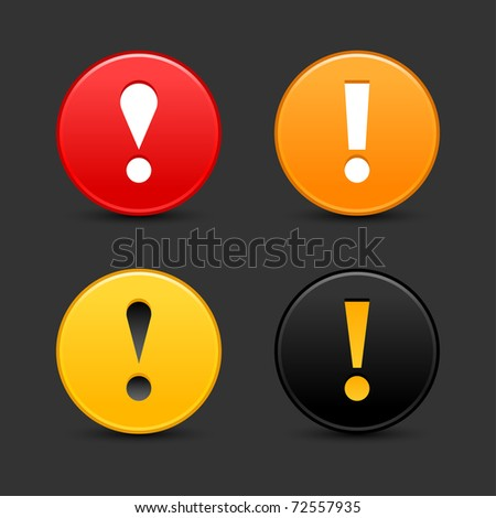 Warning sign with exclamation mark symbol. Round web 2.0 button with shadow on gray. Bitmap copy my vector ID: 61786744 - stock photo