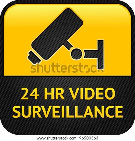 Warning Sticker for Security Alarm CCTV Camera Surveillance - stock photo
