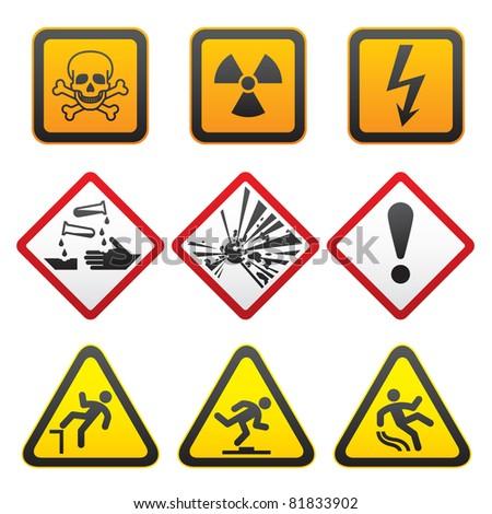 Warning symbols - Hazard Signs-First set. Bitmap copy my ID 76995334 - stock photo
