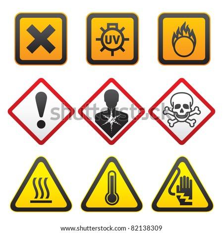 Warning symbols - Hazard Signs-Forth set. Bitmap copy my ID 77054362 - stock photo