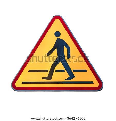 Warning traffic Pedestrian traffic road sign - stock photo