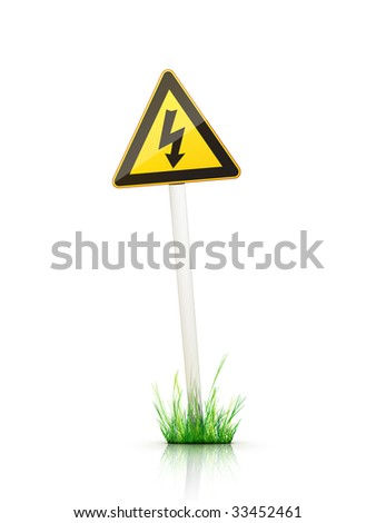 Warning Traffic Sign on White Background