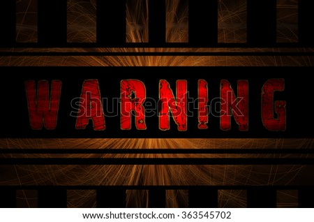 Warning word on hot sparks from spinning steel wool in the background with Gaussian blur effect, Vector Illustration. - stock photo