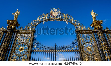 WARRINGTON, UK - APRIL 16, 20165: Gates to Warrington Town Hall, Cheshire, England.