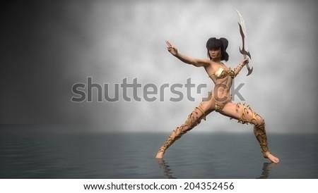 warrior girl with sword - stock photo