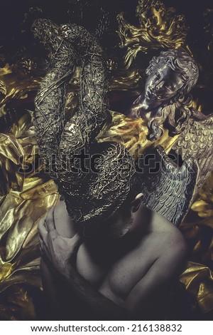 warrior man with golden helmet, gothic - stock photo
