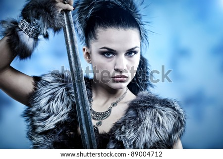 Warrior woman. Fantasy fashion idea. - stock photo