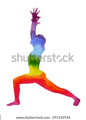 warrior 1 yoga pose, watercolor painting chakra, strong and powerful, colorful rainbow, illustration design - stock photo