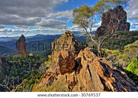 Warrumbungle National Park in NSW, Australia - stock photo