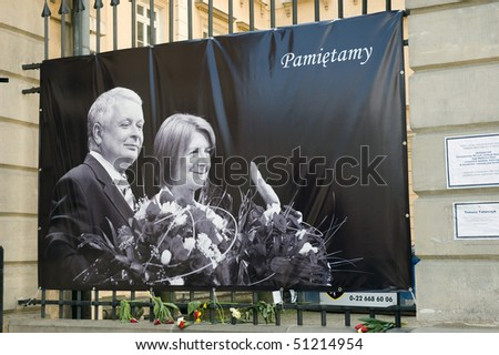 WARSAW - APRIL 15: Poland mourns the victims of a plane crash near Smolensk in which the Polish president Lech Kaczynski was killed with his wife Maria Kaczynska. April 15, 2010 in Warsaw, Poland.