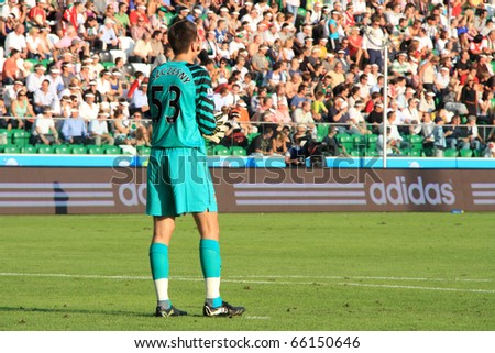 WARSAW - AUGUST 7 : Wojciech Szczesny (Arsenal London) during the friendly match between Legia Warsaw and Arsenal London at new opened Legia Warsaw Stadium on August 7, 2010 in Warsaw, Poland. - stock photo