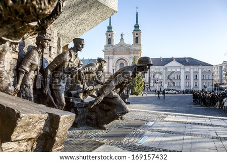 WARSAW - DECEMBER 28: Monument to the 1944 Warsaw Uprising, unveiled on the 01 August 1989, designed by Wincenty Kucma & Jacek Budyna, restored in November 2013, in Warsaw, Poland on December 28, 2013 - stock photo