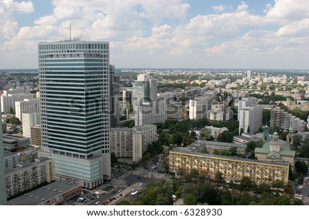 Warsaw downtown, aerial view from the top of the Palace of Culture and Science. - stock photo
