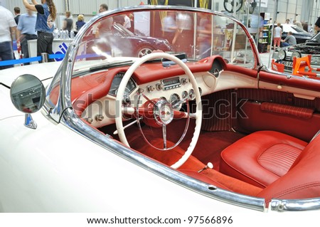WARSAW - MAY 29: Interior of the Chevrolet Corvette C1 (1953) on display at the classic car exhibition MOTO NOSTALGIA on May 29, 2011 in Warsaw, Poland.