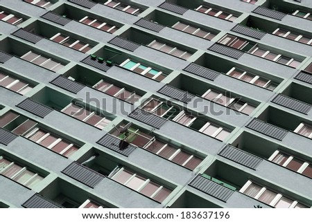 Warsaw, Poland - abstract condominium view. Socialist residential architecture. - stock photo