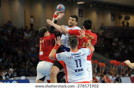 WARSAW, POLAND - APRIL 26, 2015: Hand Ball Polish League Cup Final 3-rd place match KS Azoty Pulawy and Gornik Powen Zabrze